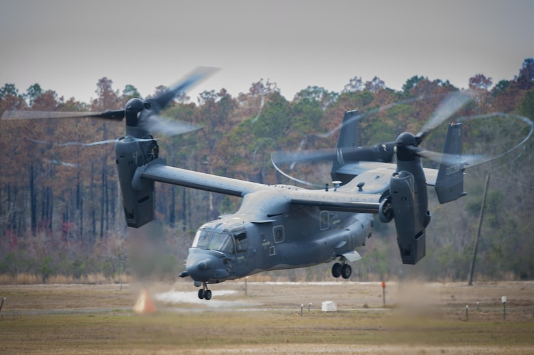 A CV-22 Osprey takes off during a training exercise, March 4, 2016, at Moody Air Force Base, Ga. During the training, the aircraft conducted tactical air and ground maneuvers, as well as weapons training. (U.S. Air Force photo by Airman 1st Class Lauren M. Johnson/Released)