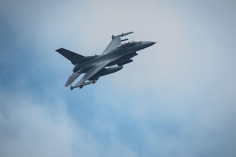 An F-16 Fighting Falcon soars through the sky during a training exercise, Feb. 18, 2016, at Moody Air Force Base, Ga. During the training, the aircraft conducted tactical air and ground maneuvers, as well as weapons training. (U.S. Air Force photo by Airman 1st Class Lauren M. Johnson/Released)