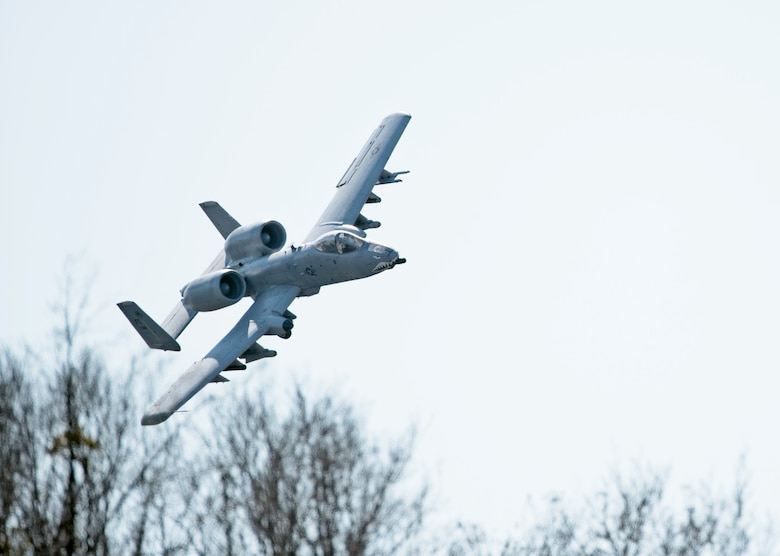 An A-10 Thunderbolt II flies over Grand Bay Bombing and Gunnery Range at Moody Air Force Base, Ga., Feb. 11, 2016. Multiple U.S. Air Force aircraft within Air Combat Command conducted joint aerial training that showcased the aircrafts tactical air and ground maneuvers, as well as its weapons capabilities. (U.S. Air Force photo by Staff Sgt. Brian J. Valencia/Released)