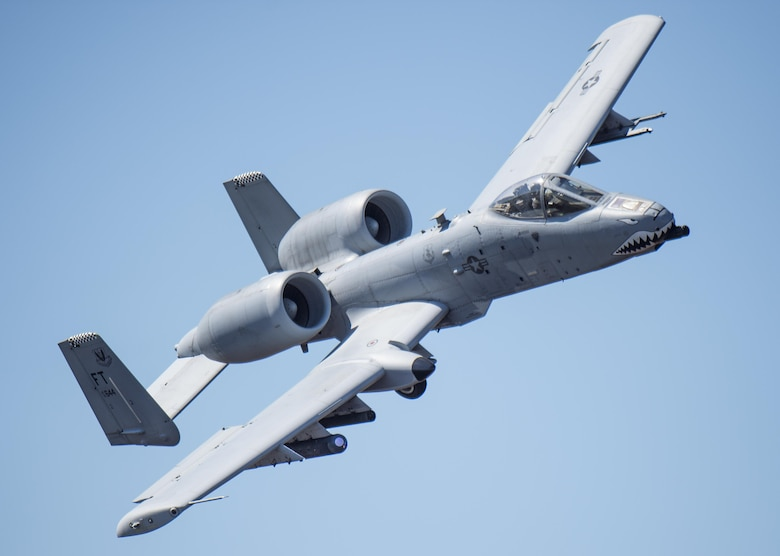 An A-10 Thunderbolt II flies over Grand Bay Bombing and Gunnery Range at Moody Air Force Base, Ga., Feb. 18, 2016. Multiple U.S. Air Force aircraft within Air Combat Command conducted joint aerial training that showcased the aircrafts tactical air and ground maneuvers, as well as its weapons capabilities. (U.S. Air Force photo by Staff Sgt. Brian J. Valencia/Released)