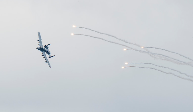 An A-10 Thunderbolt II releases flares over Grand Bay Bombing and Gunnery Range at Moody Air Force Base, Ga., Feb. 18, 2016. Multiple U.S. Air Force aircraft within Air Combat Command conducted joint aerial training that showcased the aircrafts tactical air and ground maneuvers, as well as its weapons capabilities. (U.S. Air Force photo by Staff Sgt. Brian J. Valencia/Released)