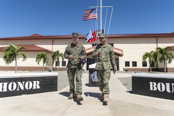 Marine Corps Gen. Joseph F. Dunford Jr., chairman of the Joint Chiefs of Staff, left, visits Joint Task Force Guantanamo, Cuba, March 9, 2016, to observe the detention facility and talk with service members who support the mission. DoD photo by Navy Petty Officer 2nd Class Dominique A. Pineiro