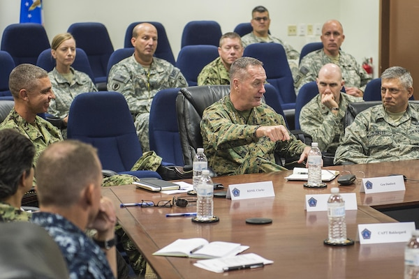Marine Corps Gen. Joseph F. Dunford Jr., chairman of the Joint Chiefs of Staff, center, meets with military leaders to learn about the detention facility and talk with service members who support the mission during a visit to Joint Task Force Guantanamo, Cuba, March 9, 2016. DoD photo by Navy Petty Officer 2nd Class Dominique A. Pineiro