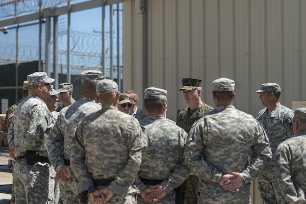 Marine Corps Gen. Joseph F. Dunford Jr., chairman of the Joint Chiefs of Staff, talks with troops while visiting Joint Task Force Guantanamo, Cuba, March 9, 2016, to observe the detention facility and meet with service members who support the mission. DoD photo by Navy Petty Officer 2nd Class Dominique A. Pineiro