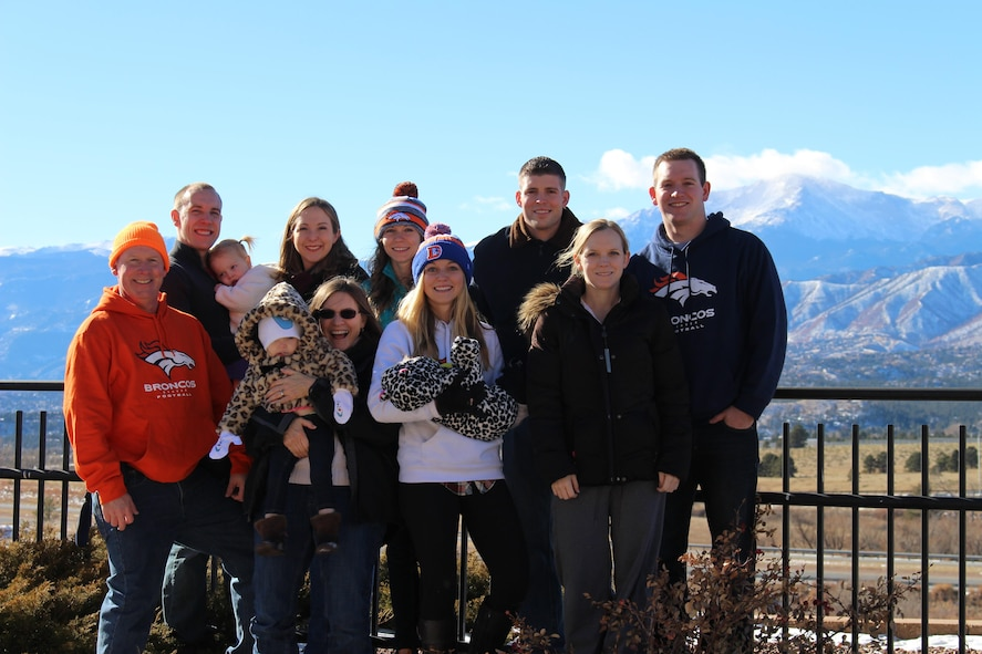 Ronald Jenkins, 90th Missile Wing Director of Staff, poses with his family in front of Colorado Springs' Pikes Peak. Jenkins recently took over as the wing's director of staff after spending three years retired. (Courtesy photo)