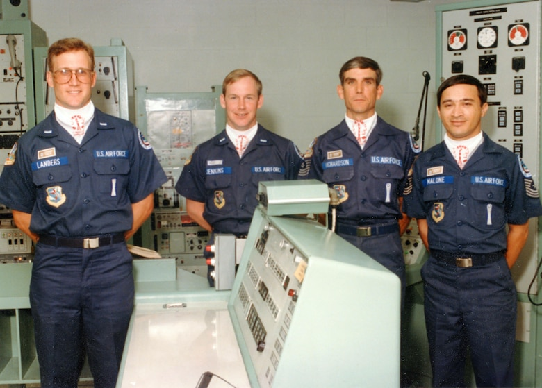 Then Lt. Ronald Jenkins, current 90th Missile Wing Director of Staff, poses with his crew mates in a Titan II launch control center in 1986. The 30-year Air Force veteran had a variety of career opportunities, allowing him to see the Air Force as a whole. (Courtesy photo)