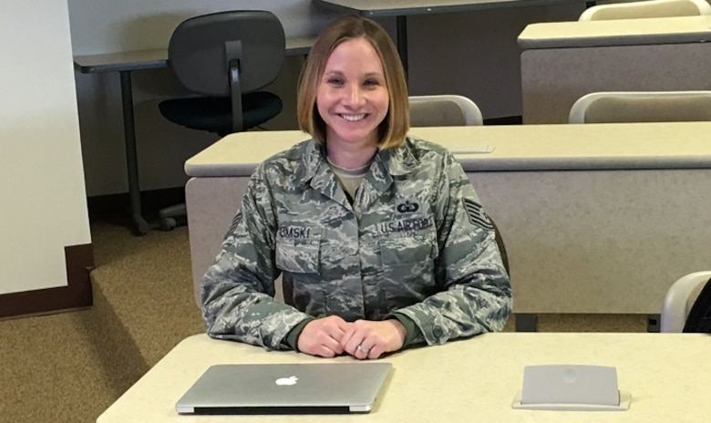 Air Force Tech. Sgt. Lindsay Slimski will be off to medical school after graduation from the Uniformed Services University of the Health Sciences' Enlisted to Medical Degree Preparatory Program. (Courtesy photo)