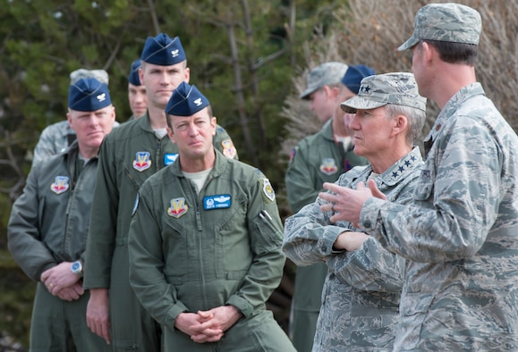 U.S. Air Force Gen. Hawk Carlisle, commander of Air Combat Command, participates in a briefing during a tour of the 389th Fighter Squadron, March 7, 2016, at Mountain Home Air Force Base, Idaho. The 389th Fighter Squadron was established in 1945 and has been stationed at Mountain Home since 1971. (U.S. Air Force photo by Airman 1st Class Chester Mientkiewicz/Released)