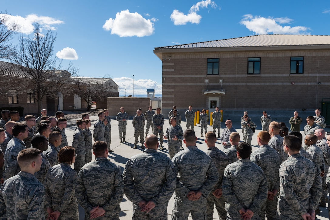 U.S. Air Force Gen. Hawk Carlisle, commander of Air Combat Command, talks with airmen at Mountain Home Air Force Base, Idaho, March 7, 2016. Airman had the opportunity to speak to Carlisle and ask questions during an all call. (U.S. Air Force photo by Airman 1st Class Connor J. Marth/Released)