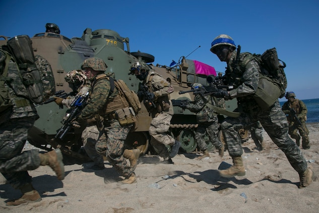 U.S. Marines, New Zealand Soldiers, Republic of Korea  Marines and Australian Soldiers conduct an amphibious assault rehearsal, on Doksukri Beach, Republic of Korea, during exercise Ssang Yong 16, March 11, 2016. Ssang Yong  is a biennial military exercise focused on strengthening the amphibious landing capabilities of the ROK, the U.S., New Zealand and Australia. (U.S. Marine Corps photo by MCIPAC Combat Camera Cpl. Allison Lotz/Released)