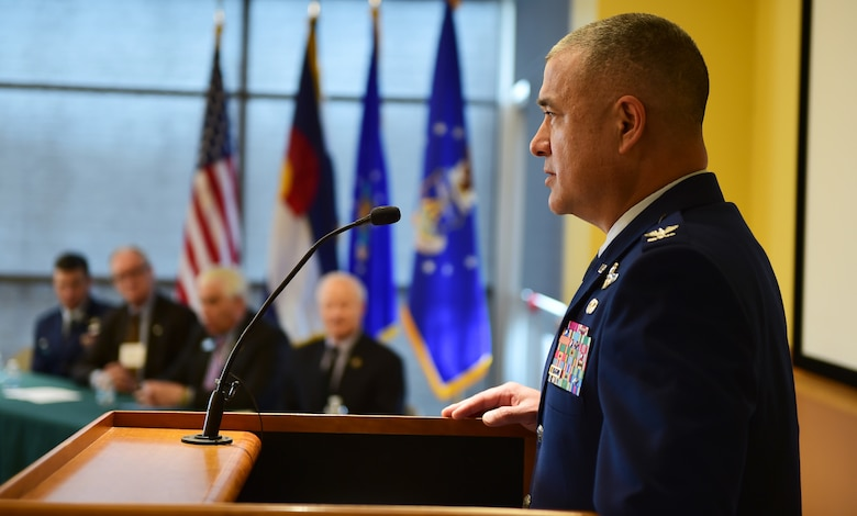 Col. Floyd Dunstan, 140th Wing commander, of the Colorado Air National Guard, communicates with Arapahoe County citizens during a Readiness and Environmental Protection Integration program celebration March 9, 2016, at the Arapahoe Center Point Plaza in Aurora, Colo. The Compatible Use Buffer Project protected Buckley Air Force Base from mission degradation by protecting boundaries and ownership of clear zones. (U.S. Air Force photo by Senior Airman Racheal E. Watson/Released)