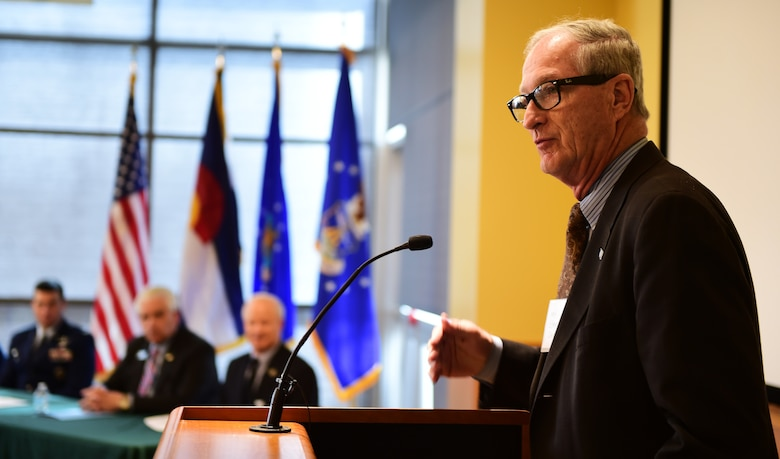 Mayor Steve Hogan, of the City of Aurora, talks to Arapahoe County citizens during a Readiness and Environmental Protection Integration program celebration March 9, 2016, at the Arapahoe Center Point Plaza in Aurora, Colo. The event celebrated the recognition of the first land buffer acquisition under the Buckley Air Force Base Compatible Use Buffer Program. (U.S. Air Force photo by Senior Airman Racheal E. Watson/Released)