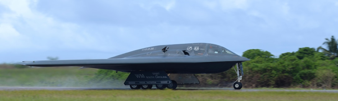 A B-2 Spirit from Whiteman Air Force Base, Mo., takes off from an undisclosed location in the U.S. Pacific Command area of operations March 10, 2016. Bomber crews routinely deploy to maintain a high state of readiness and crew proficiency while integrating capabilities with key regional partners. (U.S. Air Force photo by Senior Airman Joel Pfiester/Released