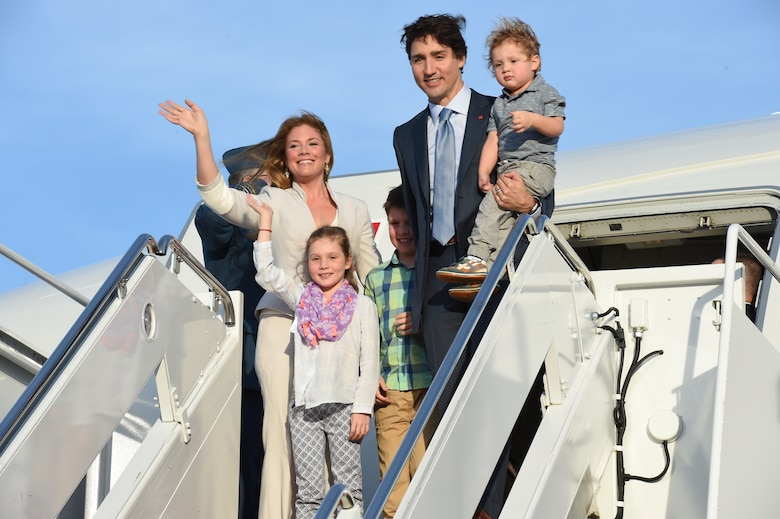Canadian Prime Minister Justin Trudeau, first lady Sophie Gregoire-Trudeau and their children arrive at Joint Base Andrews, Md., March 9, 2016. Trudeau's visit is the first time in approximately 20 years a Canadian Prime Minister has arrived in the U.S. (U.S. Air Force photo by Senior Airman Joshua R. M. Dewberry/RELEASED)