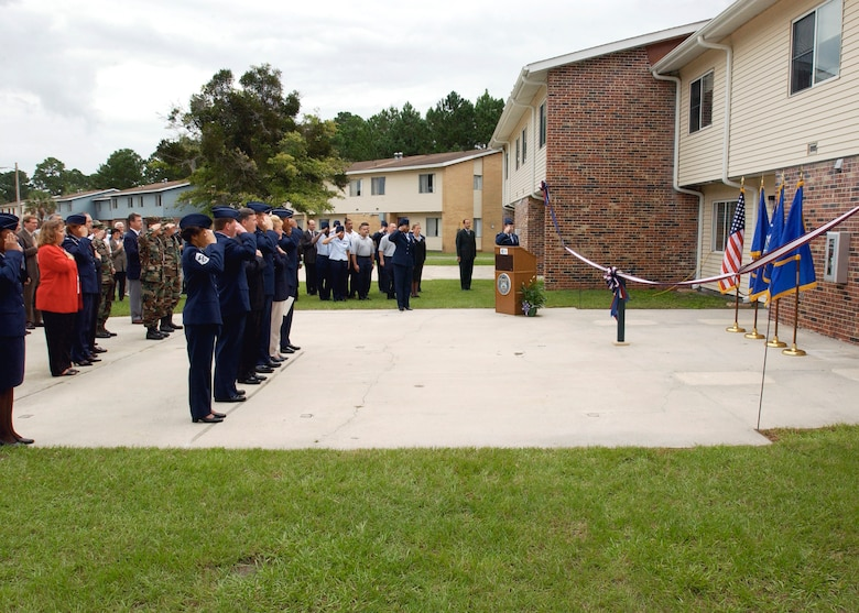 A ribbon-cutting ceremony marked the United States Air Force Office of Special Investigations Academy's official entrance to the Federal Law Enforcement Training Center in Glynco, Ga., on Oct. 3, 2002, with Col. Dennis Keith taking command. (USAFSIA photo)