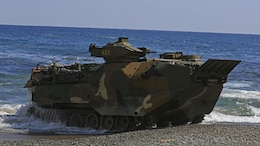 A Korean Assault Amphibious Vehicle comes ashore while rehearsing an amphibious assault in support of Exercise Ssang Yong on Doksukri Beach, Republic of Korea, March 11, 2016. Exercise Ssang Yong 2016 is a biennial military exercise focused on strengthening the amphibious landing capabilities of the Republic of Korea, the U.S., New Zealand and Australia.