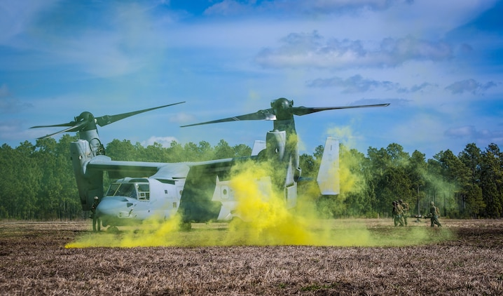 Marines with with 2nd Combat Engineer Battalion, run to load a casualty onto an MV-22B Osprey during a casualty evacuation exercise at Landing Zone Penguin at Camp Lejeune, N.C., March 10, 2016. The training allowed Marines with Marine Medium Tiltrotor Squadron 365 and 2nd CEB to work together in order to be well prepared to conduct a successful CASEVAC in any situation they may encounter while deployed, to ultimately save lives.  (U.S. Marine Corps photo by Lance Cpl. Erick Galera/Released)