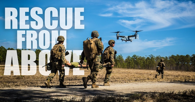 Marines with 2nd Combat Engineer Battalion, run to the landing point to load a casualty onto an MV-22B Osprey, during a casualty evacuation exercise at Landing Zone Penguin at Camp Lejeune, N.C., March 10, 2016. The training allowed Marines with Marine Medium Tiltrotor Squadron 365 and 2nd CEB to work together in order to be well prepared to conduct a successful CASEVAC in any situation they may encounter while deployed, to ultimately save lives.  (U.S. Marine Corps photo illustration by Lance Cpl. Erick Galera/Released)