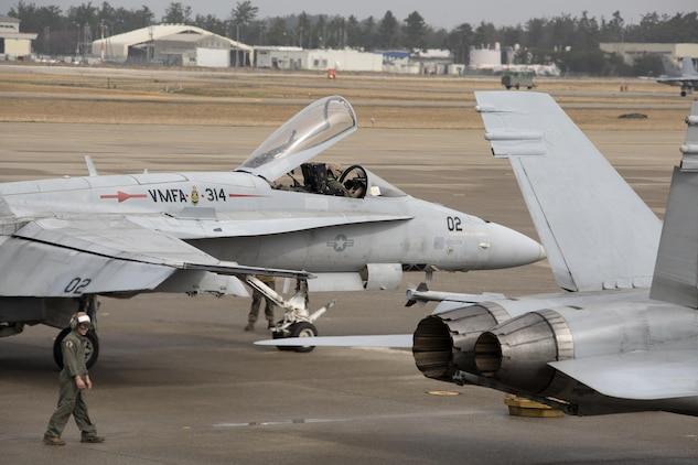 Marine Fighter Attack Squadron (VMFA) 314, forward based to Marine Corps Air Station Iwakuni, Japan, arrives at Komatsu Air Base, Japan, for the Komatsu Aviation Training Relocation exercise March 7, 2016. The ATR program, established in 2007, is in place as a result of the Defense Policy Review Initiative to increase the operational readiness of U.S. and Japanese forces, enhance bilateral interoperability and reduce local noise pollution. (U.S. Marine Corps photo by Cpl. Nicole Zurbrugg/Released)