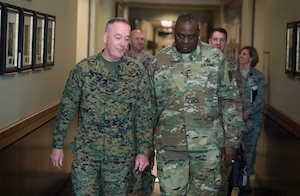 Marine Corps Gen. Joseph F. Dunford Jr., chairman of the Joint Chiefs of Staff, meets with Army Gen. Lloyd J. Austin III, commander of U.S. Central Command, at Centcom headquarters on MacDill Air Force Base, Fla., March 11, 2016. DoD photo by Navy Petty Officer 2nd Class Dominique A. Pineiro
