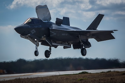 An F-35B Lightning II performs a vertical landing aboard Marine Corps Air Station Beaufort. The F-35B is the short takeoff and vertical landing variant of the jet which uses a jet propulsion system to execute the landing. The aircraft is with Marine Fighter Attack Training Squadron 501.