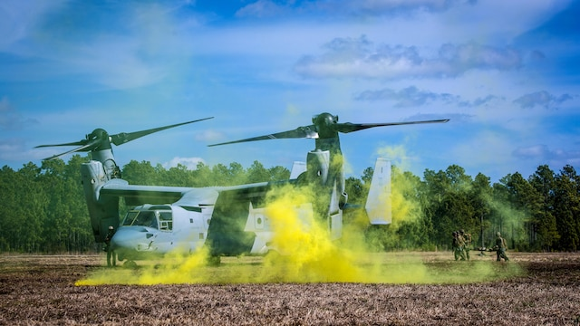 Marines with with 2nd Combat Engineer Battalion, run to load a casualty onto an MV-22B Osprey during a casualty evacuation exercise at Landing Zone Penguin at Marine Corps Base Camp Lejeune, N.C., March 10, 2016. The training allowed Marines with Marine Medium Tiltrotor Squadron 365 and 2nd CEB to work together in order to be well prepared to conduct a successful CASEVAC in any situation they may encounter while deployed, to ultimately save lives.