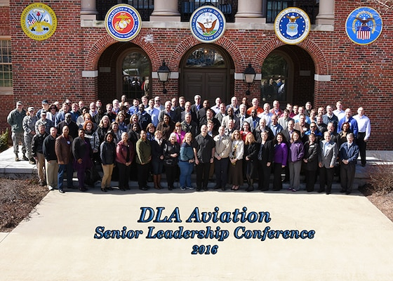 DLA Aviation's Senior Leaders Conference took place March 1-3, 2016 on Defense Supply Center Richmond, Virginia.  The activity's senior leadership from across the country met to refine and refresh goals, and to develop a collaborated vision for effective leadership strategies, integrity, innovative thinking, accountability, removing barriers and resiliency.