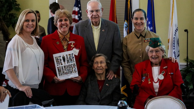 Female veterans and active duty and future Marines were united March, 11, 2016 by the Women's Marine Association to recognize Women's History Month and celebrate the 73rd  anniversary of proudly serving in the Marine Corps.