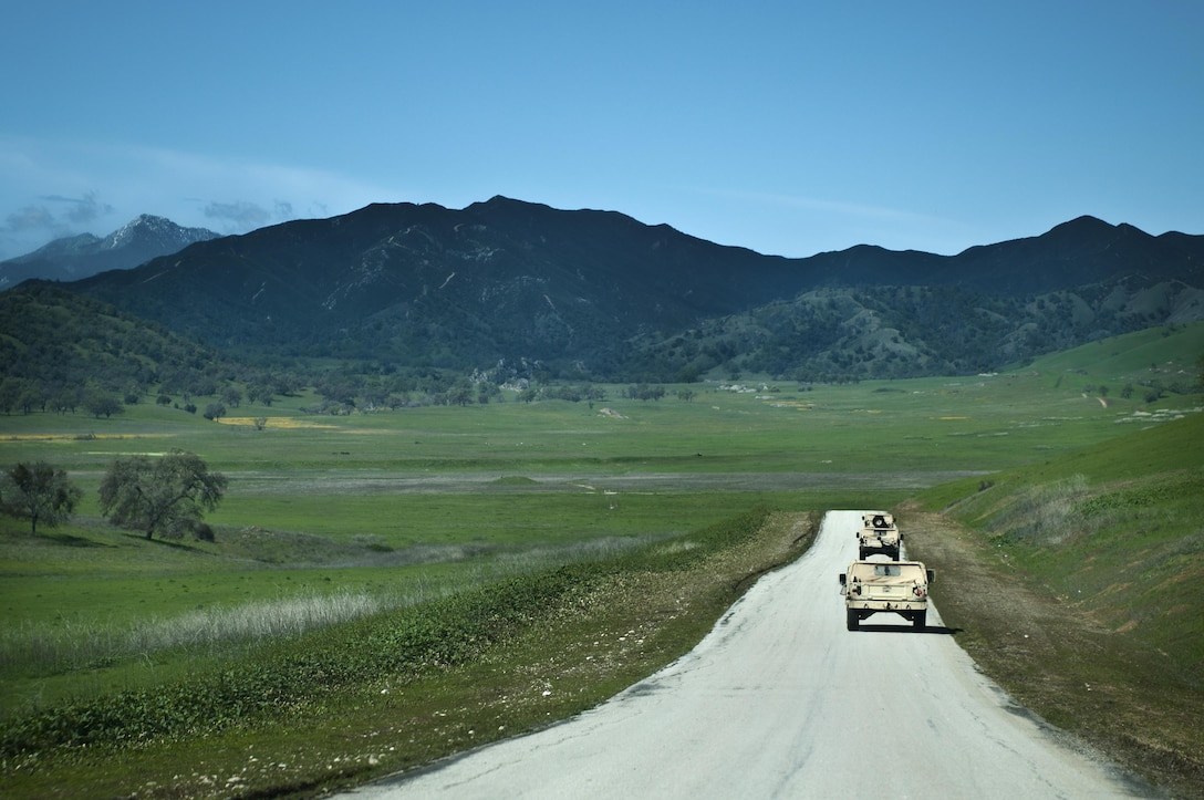 Humvees, belonging to the 475th Engineer Company (Horizontal), an Army Reserve unit from Puerto Rico, ride in a convoy to practice their Engineer skills during Combat Support Training Exercise 78-16-01 at Fort Hunter Liggett, Calif., March 8, 2016. CSTX 78-16-01 is a U.S. Army Reserve exercise conducted at multiple locations across the country designed to challenge combat support units and Soldiers to improve and sustain skills necessary during a deployment. (U.S. Army photo by Staff Sgt. Dalton Smith/Released)