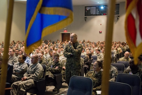 Commandant of the Marine Corps Gen. Robert B. Neller speaks to Air Command and Staff College students at Maxwell Air Force Base, Montgomery, Ala., March 8, 2016. Neller spoke about the Corps current status, priorities and expectations of all senior leadership. (U.S. Marine Corps photo by Staff Sgt. Gabriela Garcia/Released)