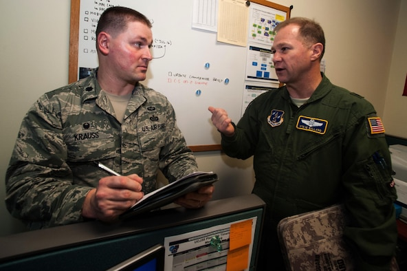 Lt. Col. Kevin Krauss, the 607th Air Mobility Division assistant director of mobility forces, takes notes as Brig. Gen. Steven Bullard, the 607th AMD director of mobility forces, discusses potential airlift operations during exercise Key Resolve 16 at Osan Air Base, South Korea, March 8, 2016. When the 607th AMD reviews airlift options, there are several safety precautions that must be evaluated before making a decision. (U.S. Air Force photo/Staff Sgt. Nick Wilson)