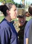 Drill Instructor Staff Sgt. Karin Guajardo commands poolees from Recruiting Station Los Angeles to get into a proper formation during a female pool function at the Sherman Oaks Recreation Park in Van Nuys, Calif., March 12, 2016. (U.S. Marine Corps photo by Staff Sgt. Alicia R. Leaders/Released)
