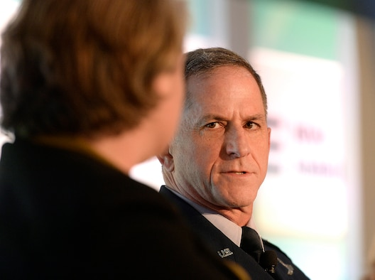 """Air Force Vice Chief of Staff Gen. David L. Goldfein participates in a panel discussion during the second annual """"Future of War"""" conference, hosted by the New American Foundation in Washington, D.C., March 10, 2016. (U.S. Air Force photo/Scott M. Ash)"""