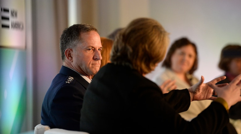 "Air Force Vice Chief of Staff Gen. David L. Goldfein participates in a panel discussion during the second annual ""Future of War"" conference, hosted by the New American Foundation in Washington, D.C., March 10, 2016. (U.S. Air Force photo/Scott M. Ash)"