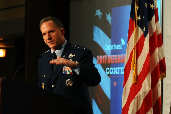 "Air Force Vice Chief of Staff Gen. David L. Goldfein presented what he believes is the Air Force story of today, which is equal parts ""challenge and opportunity"" to a crowd of defense industry watchers March 10, 2016, at the Crowne Plaza Hamilton in Washington, D.C. Most of America still remembers the Air Force of Desert Storm, Goldfein said. At the time, there were 134 fighter squadrons across the Air Force but now there are only 55 fighter squadrons. (U.S. Air Force photo/Tech. Sgt. Bryan Franks)"