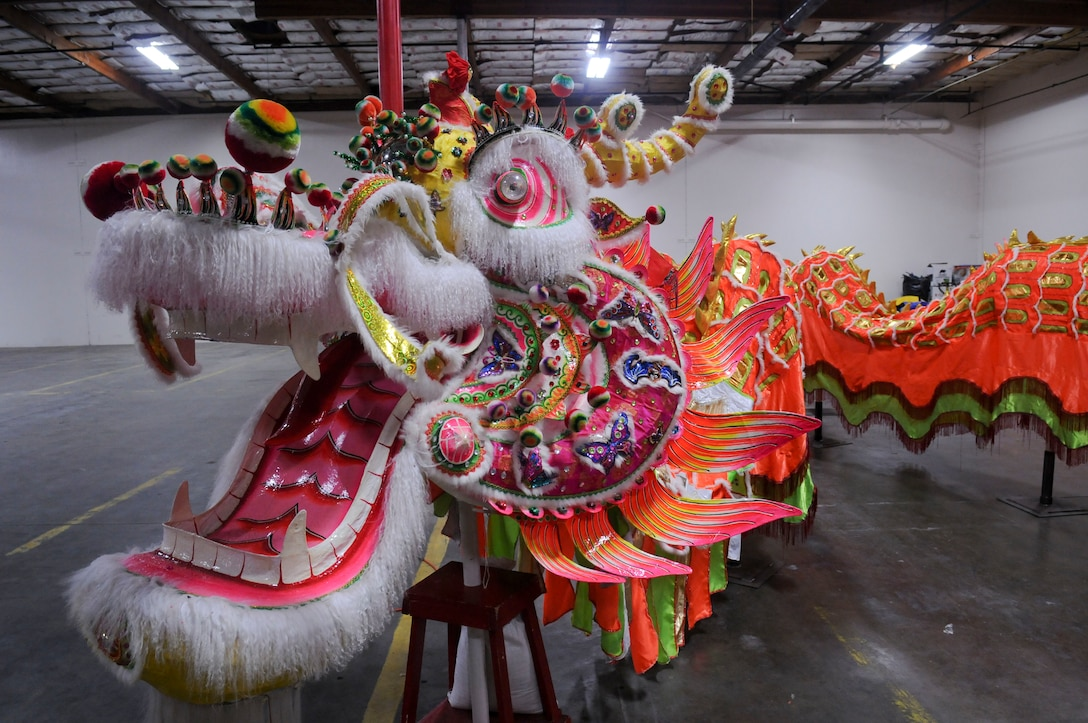 """The """"Hong Wan Lung"""" Dragon sits on a pedestal in Marysville, California, Mar. 12, 2016. The handmade dragon was created in China and donated to the city of Marysville. It is 175ft long, with the head weighing more than 60 pounds."""
