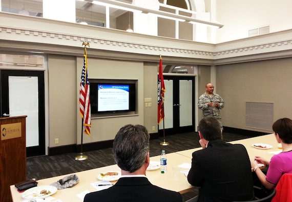 Chief Master Sgt. Juan Gonzales, 188th Medical Group, speaks to area company human