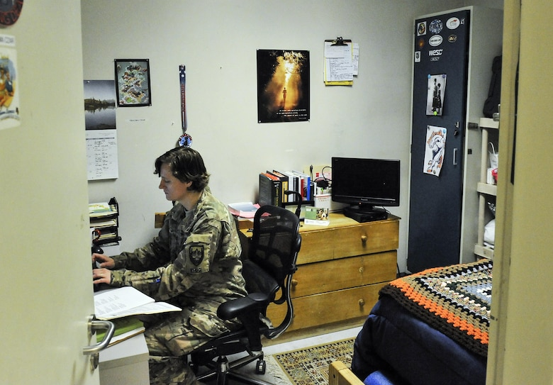Maj. (Dr.) Valerie Sams, 455th Expeditionary Medical Group trauma czar, lives and works in the Craig Joint-Theater Hospital in order to rapidly respond to her patients at Bagram Air Field, Afghanistan, March 5, 2016. The trauma czar is responsible for coordinating patient care and making the final decision on treatment. (U.S. Air Force photo by Tech. Sgt. Nicholas Rau)