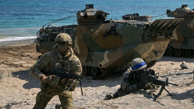 U.S. Marine Corps, Republic of Korea Marines Corps, New Zealand Army and Australian Army conduct amphibious assault training at Doksukri Beach, South Korea, March 12, 2016, during Exercise Ssang Yong 16. Ssang Yong 16 is a biennial military exercise focused on strengthening the amphibious landing capabilities of the U.S. and its allies.