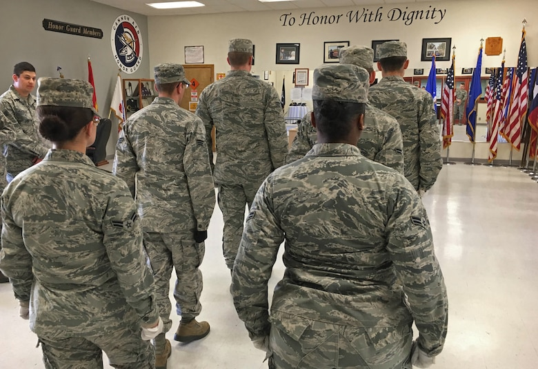 U.S. Air Force base honor guardsmen practice drills Jan. 28, 2016, at Cannon Air Force Base, N.M. Cannon's Honor Guard is charged with representing every member, past and present, of the Air Force. (U.S. Air Force photo/Staff Sgt. Alexx Pons)