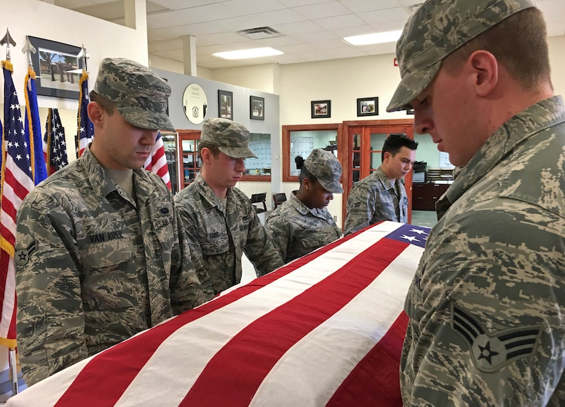 U.S. Air Force base honor guardsmen practice casket carries Jan. 28, 2016, at Cannon Air Force Base, N.M. The Cannon Honor Guard program has the primary mission of providing funeral and memorial services. (U.S. Air Force photo/Staff Sgt. Alexx Pons)