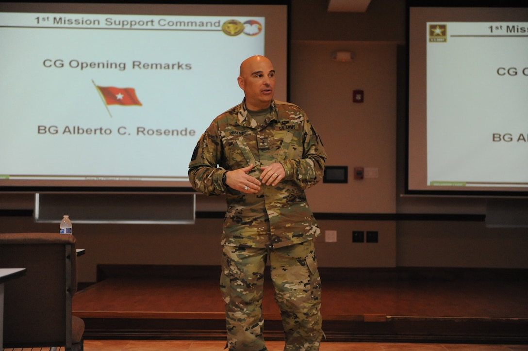 Brig. Gen. Alberto C. Rosende, commanding general for the 1st Mission Support Command, reiterates the importance of understanding DSCA Mission Assignments and the Immediate Response Authority during a DSCA 101 brief held at the 1st Mission Support Command (MSC) Headquarters, on Fort Buchanan, Puerto Rico, March 10.