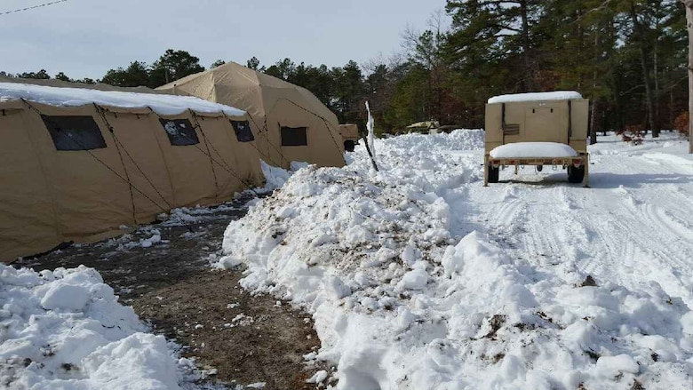 The tactical operations center (TOC) of the Army Reserve's 766th Transportation Battalion after after receiving approximately 12 inches of snow while participated in WAREX 78-16-01 at Joint Base McGuire-Dix-Lakehurst, N.J. The 84th Training Command's first WAREX of the year was hosted by the 78th Training Division at Joint Base McGuire-Dix-Lakehurst, N.J., and Fort Hunter Liggett, Calif.; the exercise involved more than 40 units from across the U.S. Army Reserve, U.S. Army National Guard and Canadian Armed Forces.