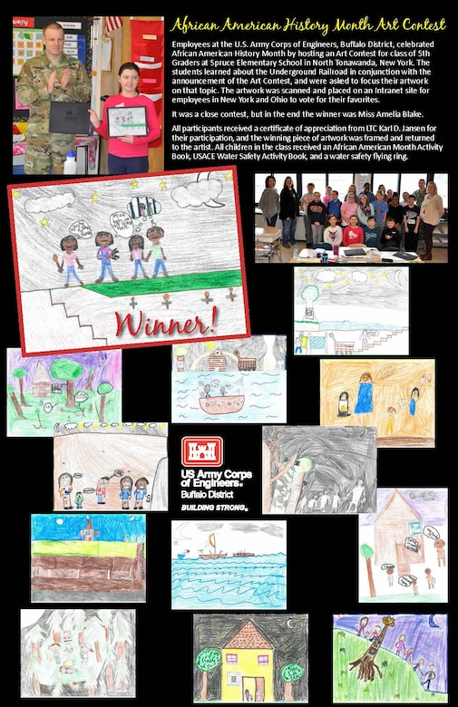 Employees at the U.S. Army Corps of Engineers, Buffalo District, celebrated African American History Month by hosting an Art Contest for class of 5th Graders at Spruce Elementary School in North Tonawanda, New York.