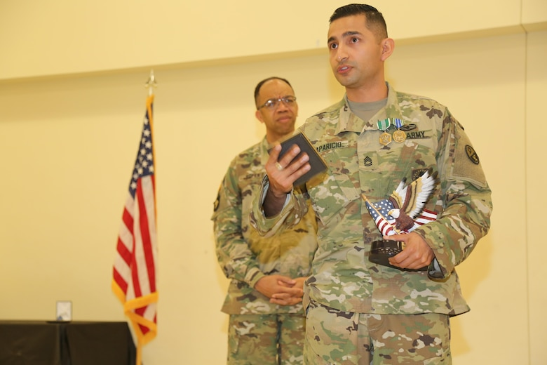 U.S. Army Sgt. 1st Class Daniel Aparicio, assigned to Regional Training Maintenance, Fort Devens, Mass., winner of 2016 Best Warrior Competition  during the 80th Training Command 2016 Best Warrior Competition (BWC) in conjunction with 99th Regional Support Command at Camp Bullis, Texas, March 11, 2016. The BWC is an annual competition to identify the strongest and most well-rounded Soldiers through the accomplishment of physical and mental challenges, as well as basic Soldier skills. (U.S. Army photo by Spc. Darnell Torres/Released).