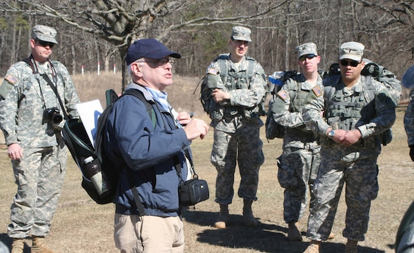 Saratoga Battlefield historian and retired Park Ranger Larry Arnold discusses the importance of terrain for the Battle of Freeman's Farm to Soldiers of the Judge Advocate General Corps from the New York Army National Guard and Army Reserve's 7th Legal Operations Detachment March 12, 2016 at the Saratoga National Historical Park in Stillwater, New York.