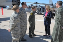 Secretary of the Air Force Deborah Lee James speaks to 355th Fighter Wing Airmen during a tour at Davis-Monthan Air Force Base, Ariz., March 9, 2016. James is the 23rd SecAF and is responsible for the affairs of the Department of the Air Force, including the organizing, training, equipping and providing for the welfare of its nearly 664,000 active duty, Guard, Reserve and civilian Airmen and their families. James and Deputy Secretary of Energy Dr. Elizabeth Sherwood-Randall visited various units to discuss their mission operations, priorities, and capabilities, in addition to D-M AFB's significant contributions to efficient energy use. (U.S. Air Force photo by Airman 1st Class Mya M. Crosby/Released)