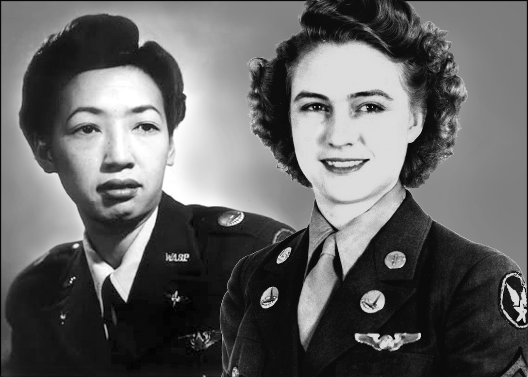 Hazel Ying Lee, left, was one of approximately 1,100 civil service Women Airforce Service Pilots that flew Army aircraft during World War II and was the first Chinese-American woman to fly for the United States military. Pfc. Emma Jane Windham Burrows served in the U.S. Army Air Forces during the war and was the Women's Army Corps' first crew chief and aerial engineer. Great Falls, Mont., is significant to both of their stories. (U.S. Air Force photo illustration/John Turner)