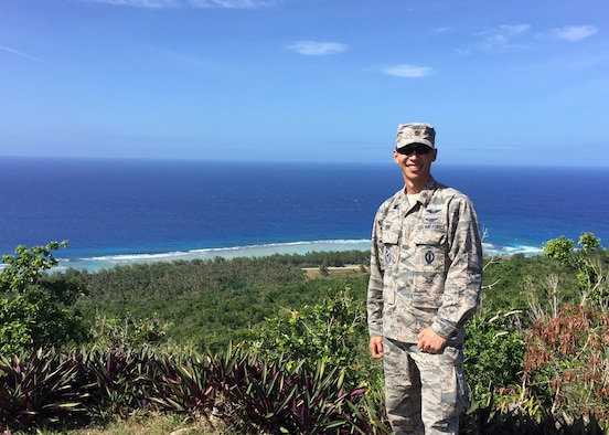 Maj. Tomoyuki Ono, U.S. Test Pilot School, Flying Qualities chief, poses for a picture on the coast of Guam in the Pacific Ocean. Ono had the chance to participate in a Silver Flag exercise at Andersen Air Force Base last month, thanks to the Air Force's Language Enabled Airmen Program. (Courtesy photo)