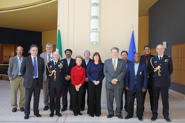 The Air Force Research Laboratory's basic research directorate, the Air Force Office of Scientific Research (AFOSR) hosted the International Basic Research Infrastructure Meeting from Nov 12-13, 2015 at the Embassy of Italy in Washington, D.C.  This effort was made possible with the support and collaboration of the Embassy of Italy in Washington, D.C. and the National Research Council of Italy. From left to right:  Dr. Jeffery Owrutsky, Section Chief, Naval Research Laboratory, Mr. Giulio Busulini, Scientific Attaché, Embassy of Italy, Dr. Mark Maurice, ION Director, AFOSR, Maj General (AF) Luca Goretti, Defense Attaché, Embassy of Italy, Dr. Padmanabhan Seshaiyer, Program Director, National Science Foundation, Prof. Ozden Ochoa, Texas A&M University, Dr. Leanne Henry, Senior International Focal Point, AFRL/RD, Mrs. Rosie Hicks, Chief Executive Officer, Australian National Fabrication Facility, Dr. Thomas Christian, Director, AFOSR, Dr. Larry Nagahara, Associate Dean of Research, Johns Hopkins University, Dr. Makhapa Makhafola, General Manager for Research and Development, MINTEK National Science Council, Dr. Sofi Bin-Salamon, International Program Manager, AFOSR, Lt Col (AF) Alessio Grasso, Assistant Defense Attaché, Embassy of Italy.